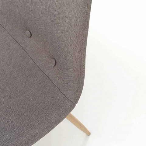 4 Sedie per Sala da Pranzo con Seduta in Tessuto e Struttura in Metallo - Pampa