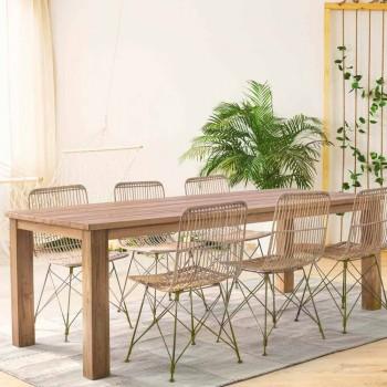 4 Sedie per Sala da Pranzo in Acciaio e Intreccio di Kubu Homemotion - Kendall