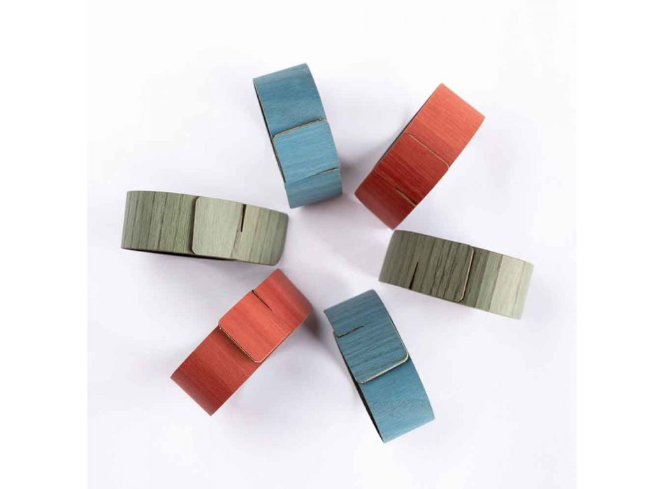 6 Anelli Portatovagliolo di Design in Colori Assortiti Made in Italy - Potty