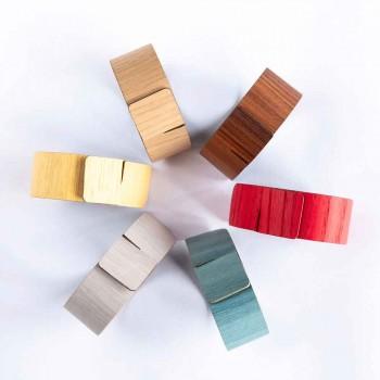 6 Anelli Portatovagliolo in Legno e Tessuto Moderni Made in Italy - Potty