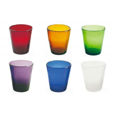 12 Bicchieri Acqua Servizio Artigianale di Vetro Colorato Soffiato - Yucatan