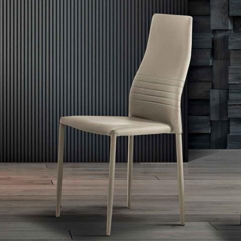 6 Sedie Impilabili in Ecopelle Colorate Design Moderno da Soggiorno - Merida