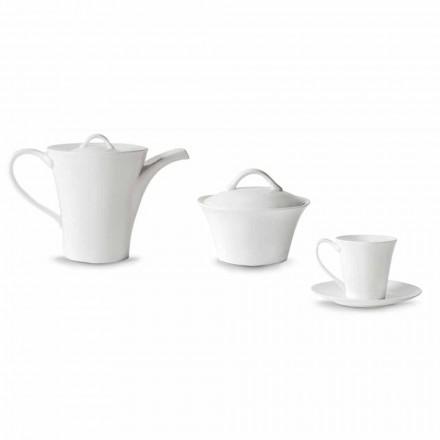 6 Tazze da Caffè con Piatto, Caffettiera e Zuccheriera in Porcellana - Romilda