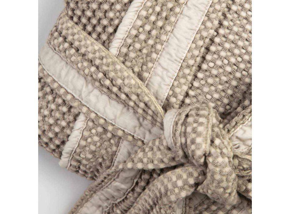 Accappatoio Kimono di Lusso di Lino e Cotone, 2 Finiture Made in Italy - Kleone