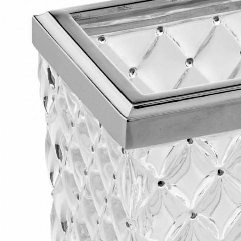 Accessori Bagno da Appoggio in Cristallo Capitonnè e Metallo - Argento