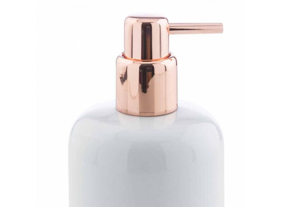 Accessori Bagno da Appoggio in Porcellana Bianca con Dettagli Rame - Scampia