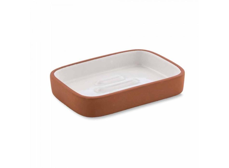 Accessori Bagno da Appoggio in Terracotta e Ceramica Bianca - Terracotta