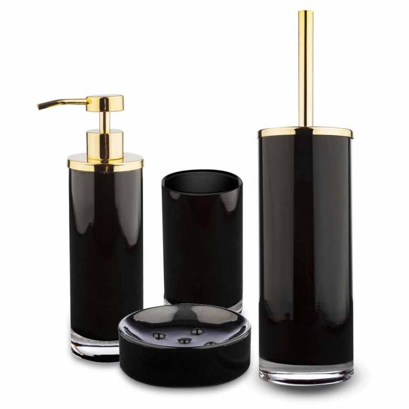 Accessori Bagno da Appoggio in Vetro Nero e Metallo Dorato Lucido - Black