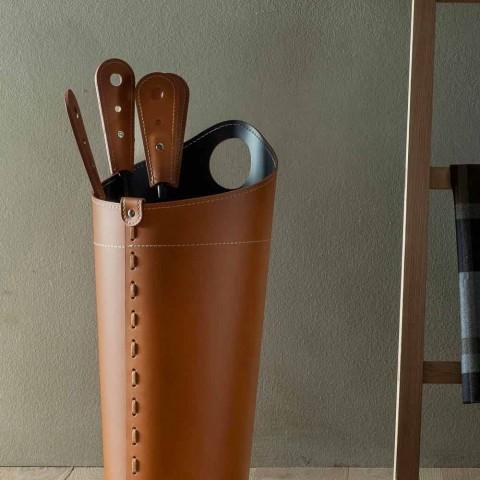 Accessori per camino con portaferri in cuoio Nilar, design moderno