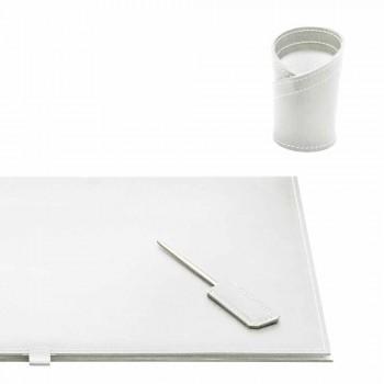 Accessori per Scrivania in Cuoio Rigenerato 4 Pezzi Made in Italy - Aristotele