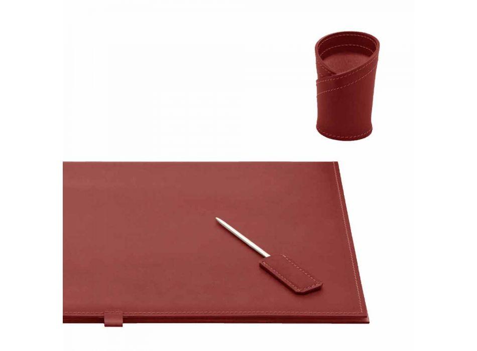 Accessori per Scrivania in Cuoio Rigenerato 5 Pezzi Made in Italy - Aristotele