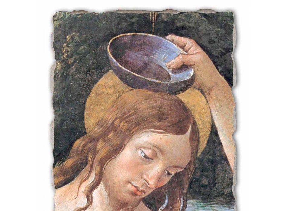 """Affresco grande fatto a mano Perugino """"Battesimo di Cristo"""""""