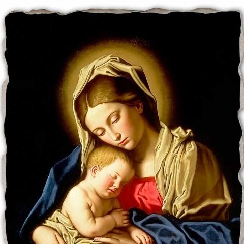 """Affresco grande fatto a mano Sassoferrato """"Madonna con Bambino"""""""