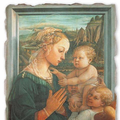 """Affresco grande Filippo Lippi """"Madonna col Bambino"""", fatto a mano"""