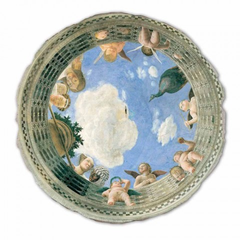 """Affresco grande Mantegna """"Oculo con Putti e Dame Affacciati"""""""