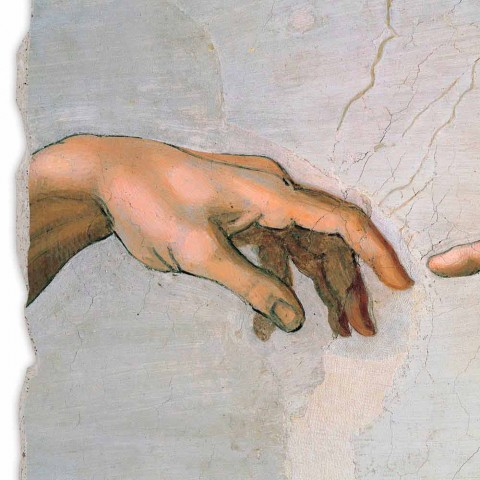"Affresco made in Italy Michelangelo ""Creazione di Adamo"" part."