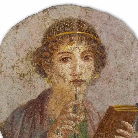 """Affresco riproduzione grande Arte Romana """"La Poetessa"""""""
