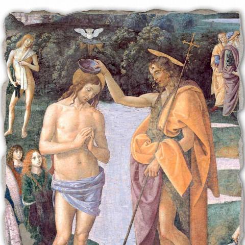 """Affresco riproduzione Perugino """"Battesimo di Cristo"""""""