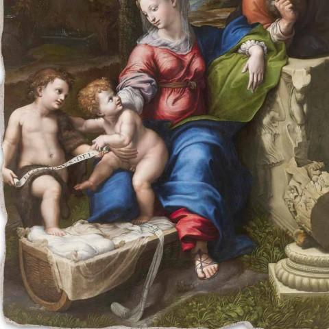 """Affresco riproduzione R.Sanzio """"Sacra Famiglia sotto la Quercia"""""""
