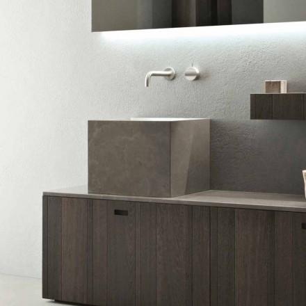 Alto Lavabo Quadrato in Pietra di Design Moderno da Appoggio - Farartlav1