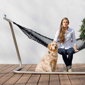 Amaca in Acciaio e Rete Nera da Giardino di Design Made in Italy - Cumberland