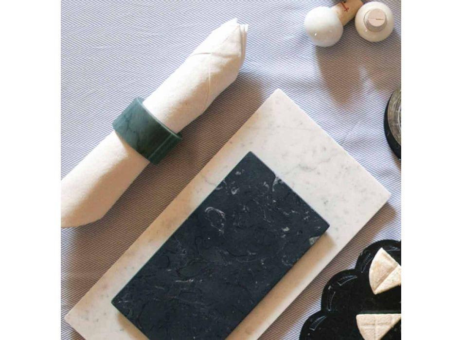 Anelli Portatovaglioli in Marmo Rosa e Verde Made in Italy 4 Pezzi - Fulk