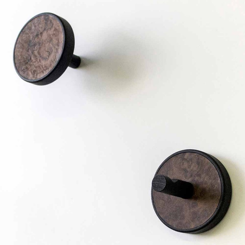 Appendiabiti a Muro con Legno Pregiato di Radica di Noce 2 Pezzi - Casimiro