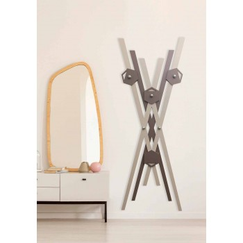 Appendiabiti a Muro Design Moderno Legno Colorato per Ingresso - Picasso