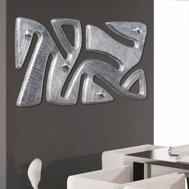 Appendiabiti da muro design decorato a mano in foglia argento Holt