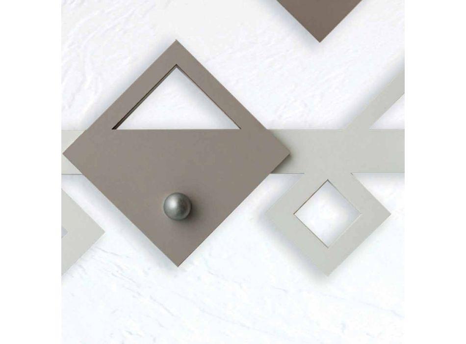 Appendiabiti da Parete in Legno Bianco e Beige Design Moderno Geometrico - Klimt