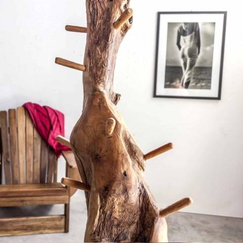 Appendiabiti da Terra con Struttura e Pioli in Teak Massello - Abete