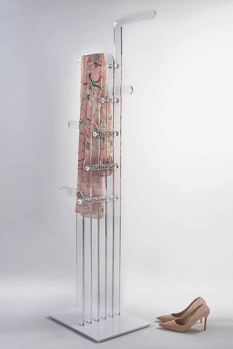 Appendiabiti da terra moderno, sagomato in cristallo acrilico Elva