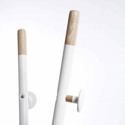 Appendiabiti di design moderno, bianco e legno naturaleAlix