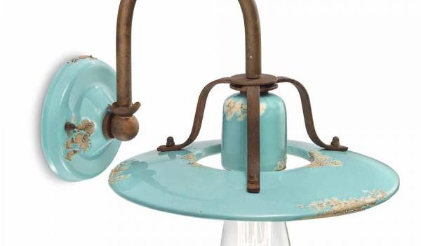 Applique a faretto country in metallo e ceramica gladys ferroluce