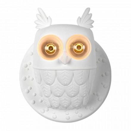 Applique a Muro 2 Luci in Ceramica Bianca Opaca Design Moderno Civetta - Gufo