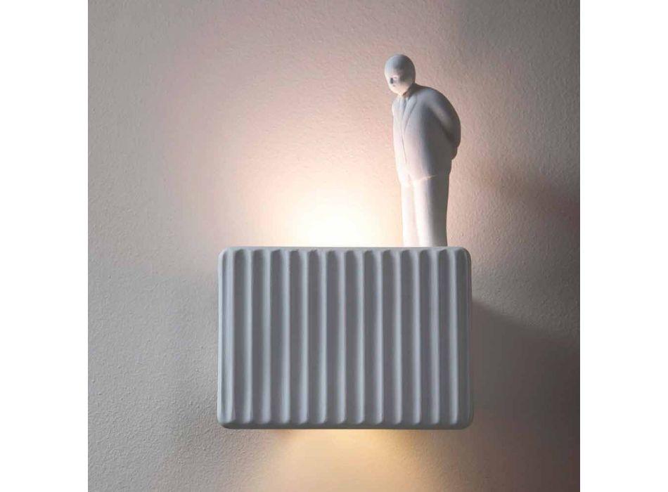 Applique a Muro a 3 Luci Led in Ceramica Bianca Opaca con Umarell - Ometto