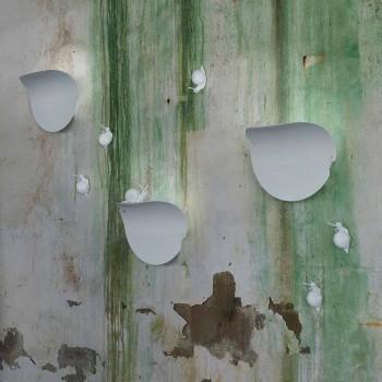 Applique a Muro Design a Foglia in Ceramica Bianca e Decoro Lumaca - Lumachina