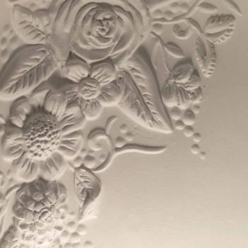 Applique a Muro in Ceramica Bianca Opaca Design con Fiori di Decoro - Fluxo