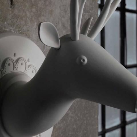 Applique a Muro in Ceramica Bianca Opaca Design Moderno a Cervo - Memento