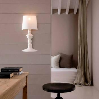 Applique a Muro in Ceramica Verniciabile e Paralume in Lino Bianco - Cadabra
