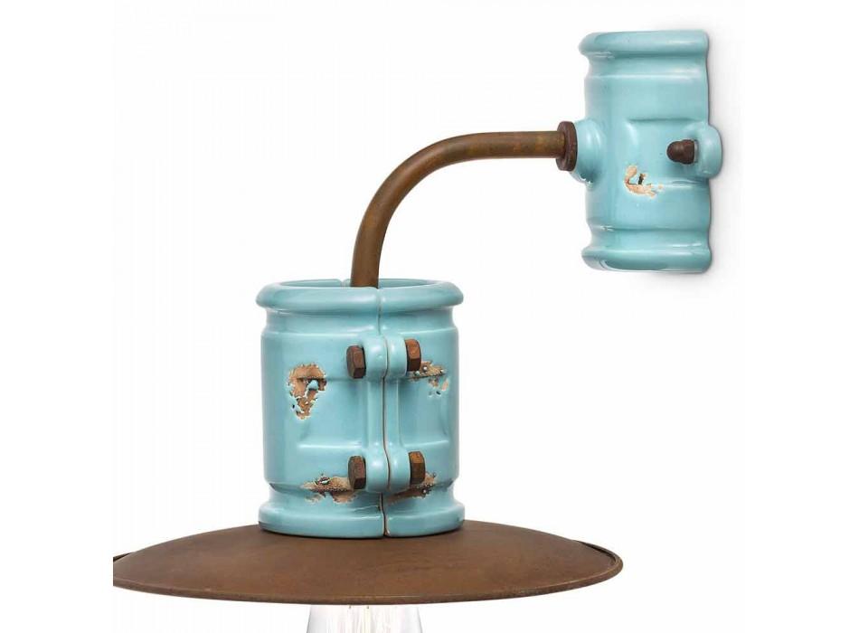 Applique a parete a faretto in ceramica e metallo Katy artigianale