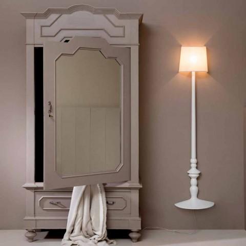 Applique a Parete Alta in Ceramica Bianca e Paralume in Lino Design - Cadabra