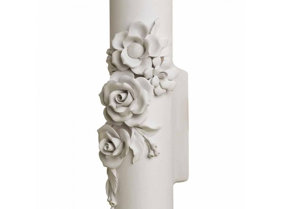 Applique a Parete in Ceramica Bianca Opaca con Fiori di Decoro - Rivoluzione