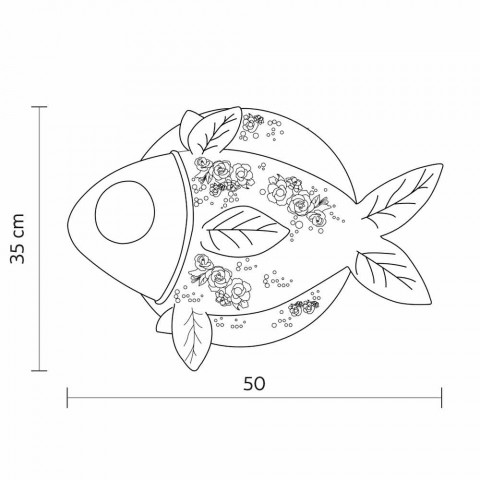 Applique a Parete in Ceramica Bianca Opaca Design a Pesce Decorato - Pesce