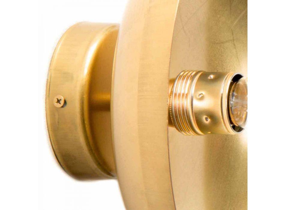 Applique Artigianale Rotonda in Ottone Naturale con LED Made in Italy - Salina