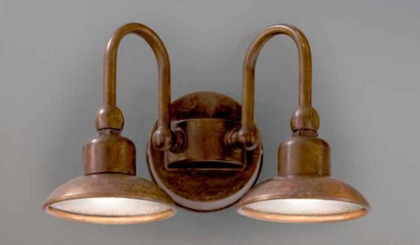 Applique da esterno a 2 luci in ottone e rame bugatti aldo bernardi