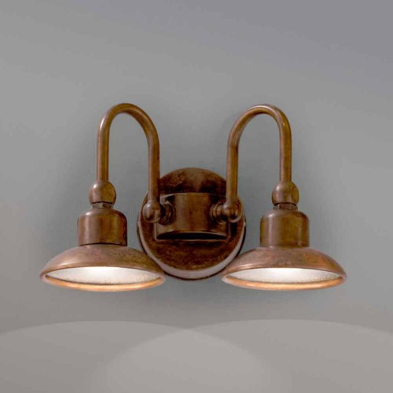 Applique da esterno a 2 luci in ottone e rame Bugatti