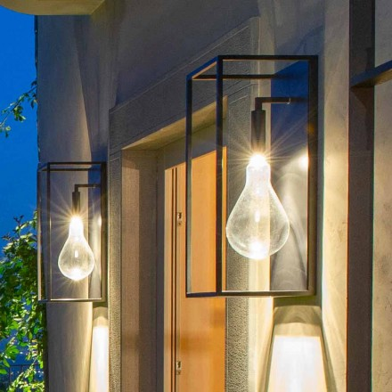 Applique da Esterno in Ferro con Luce LED Calda e Vetro Made in Italy - Falda