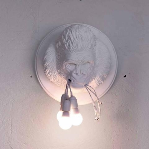 Applique da Parete a 3 Luci in Ceramica Gorilla Grigio o Bianco Design - Rillago