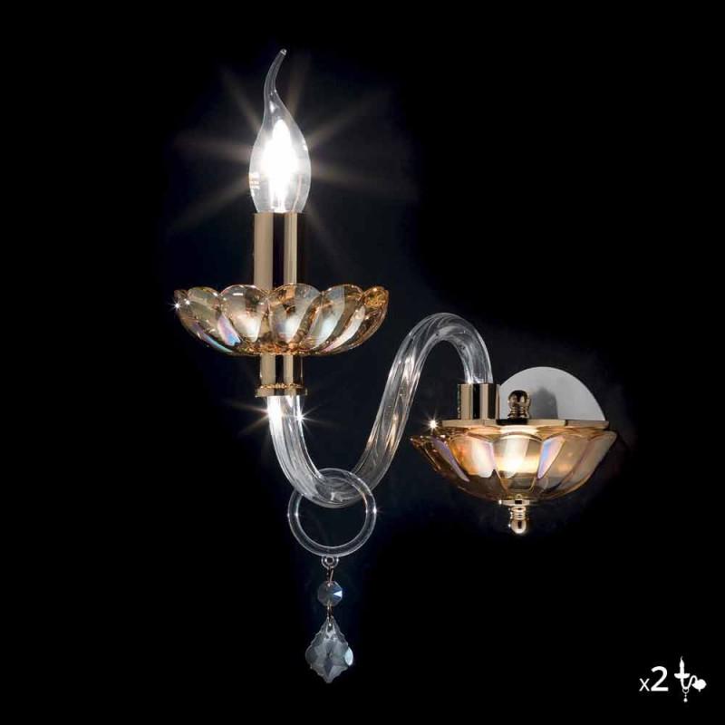 Applique da parete design classico in cristallo e vetro Belle, 2 pezzi